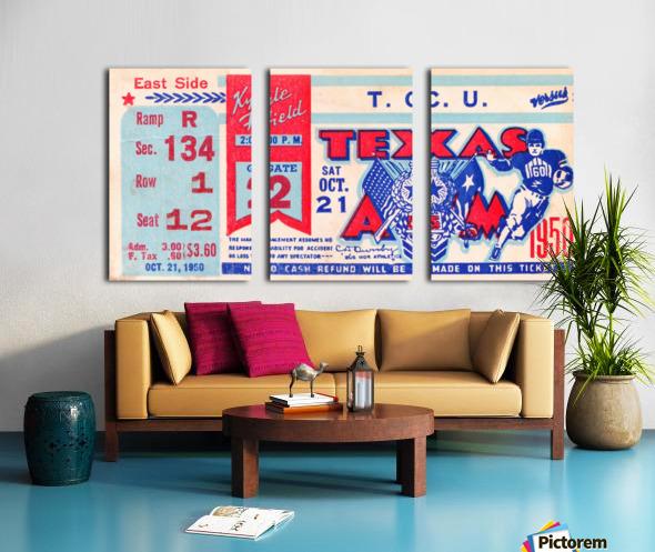 1950 texas am aggies tcu football ticket stub art kyle field college station Split Canvas print