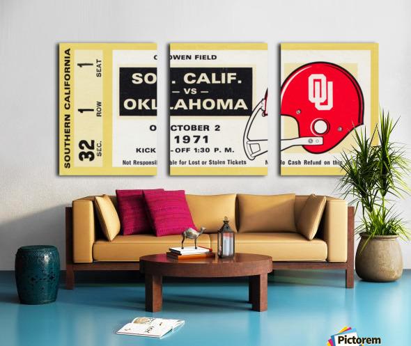 1971 usc trojans oklahoma sooners owen field norman ok football ticket wall art Split Canvas print