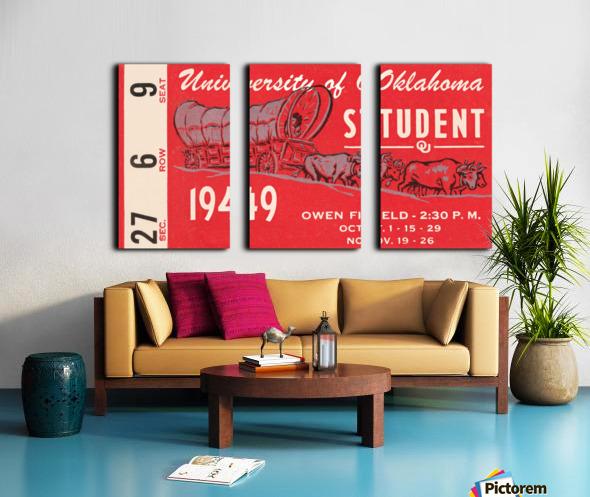 1949 oklahoma sooners football student season ticket art Split Canvas print