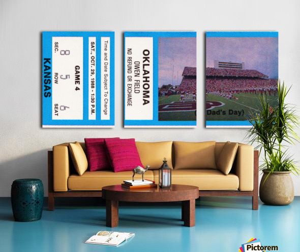 1988 oklahoma sooners kansas college football ticket art  Split Canvas print