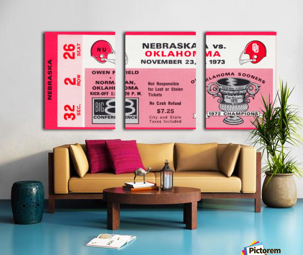1973 oklahoma sooners nebraska cornhuskers owen field norman college football ticket art Split Canvas print