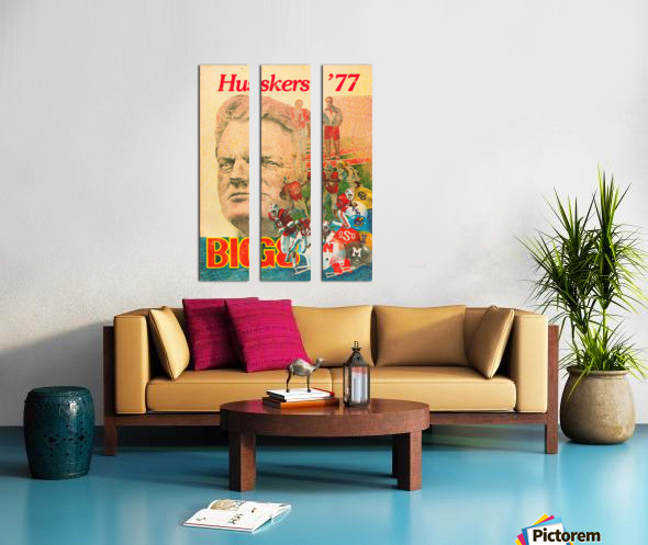 1977 nebraska cornhuskers tom osborne big 8 college football poster Split Canvas print