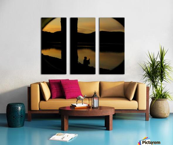 contemplation at waters edge Split Canvas print