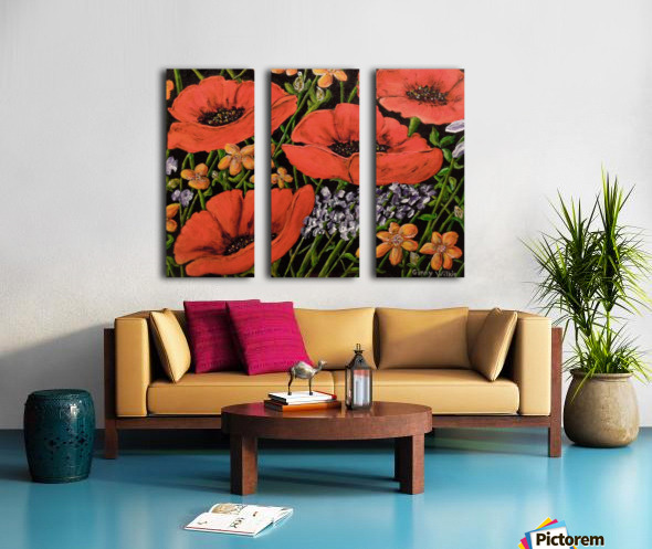 Four Poppies Split Canvas print