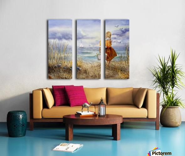 Girl And The Ocean Split Canvas print