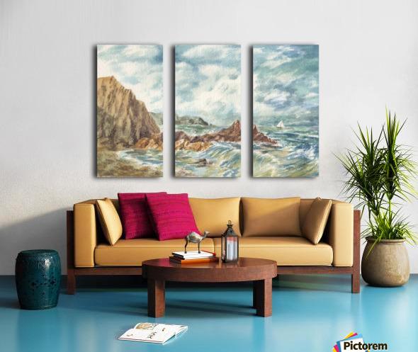 Vintage Storm At Rocky Shore Split Canvas print