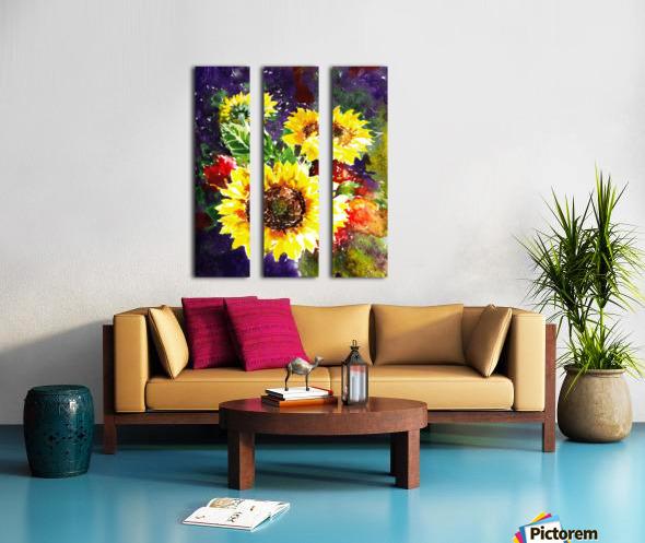 Impressionism And Sunflowers Split Canvas print