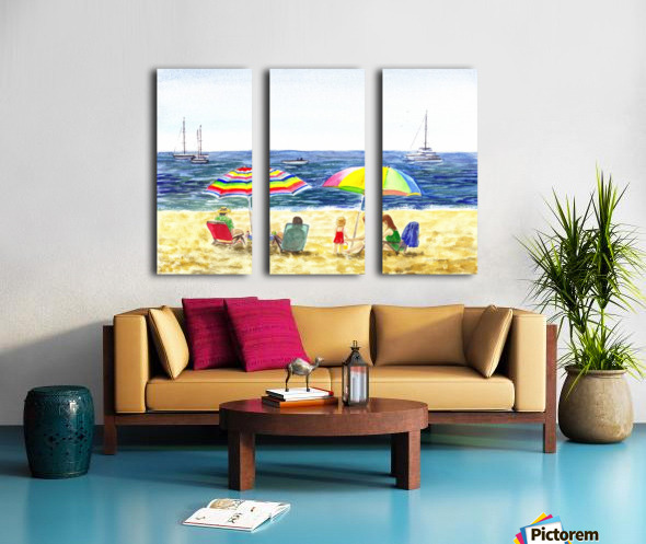 Two Umbrellas On The Beach Split Canvas print