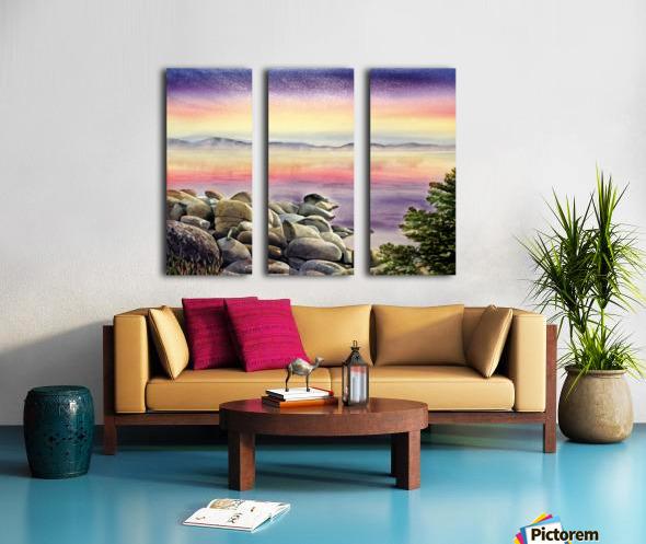 Purple Sunset At The Lake Split Canvas print