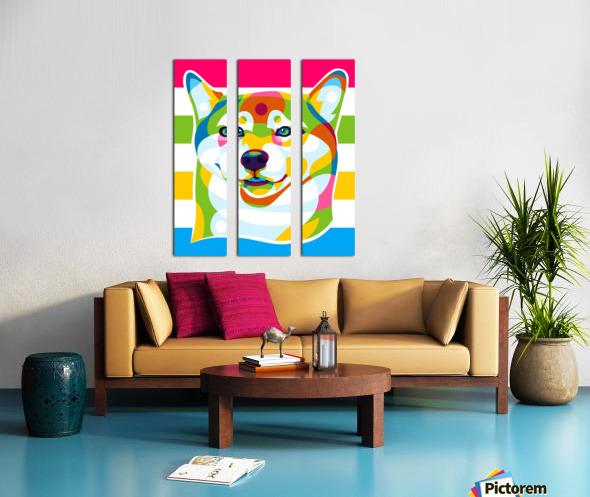 Shiba Inu Colorful Dog Split Canvas print