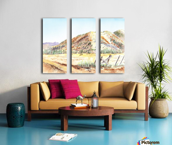 Landscape With Mountains Ranch And Cows Split Canvas print