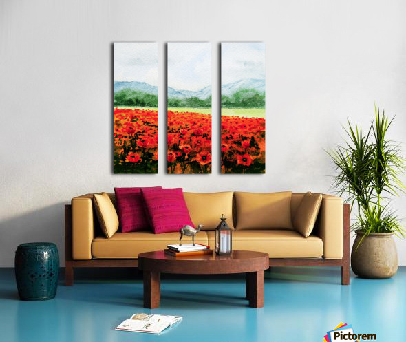 Red Poppies Field Split Canvas print