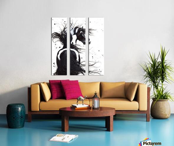 Black and White Pinto Horse Split Canvas print