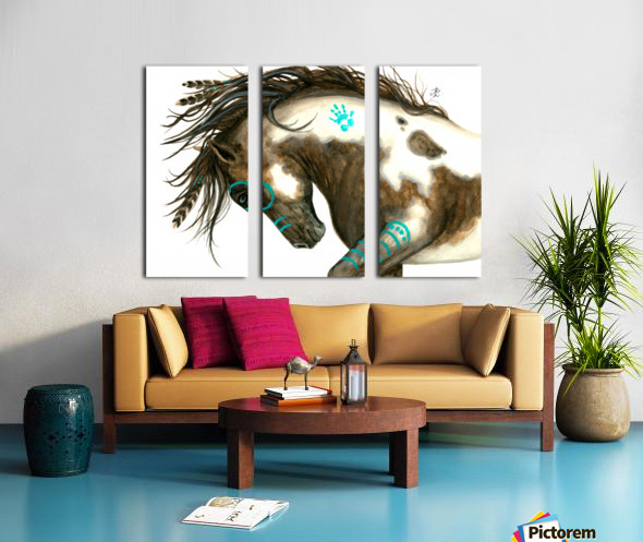 Pinto Horse Turquoise  Split Canvas print