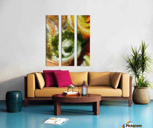 Fall Vortex Of Green Yellow Orange And Brown Abstract Watercolor  Split Canvas print