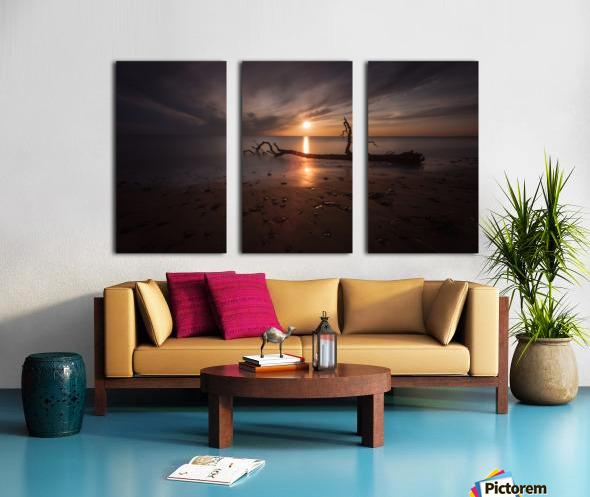 Sunset on Sker Beach Split Canvas print