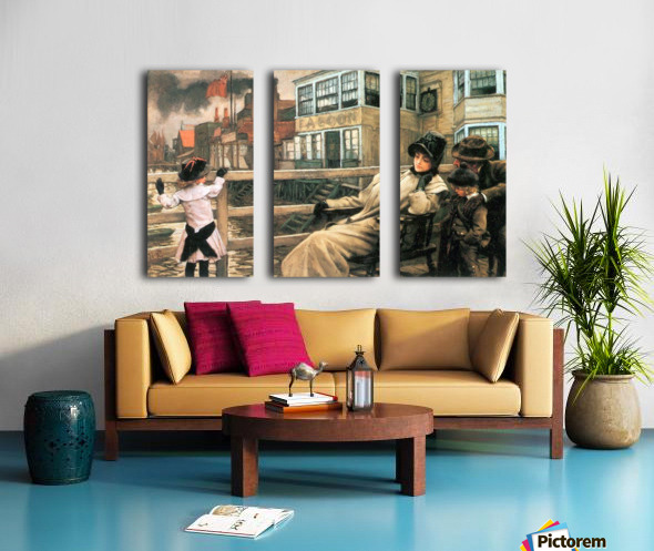 On the ferry waiting 2 by Tissot Split Canvas print