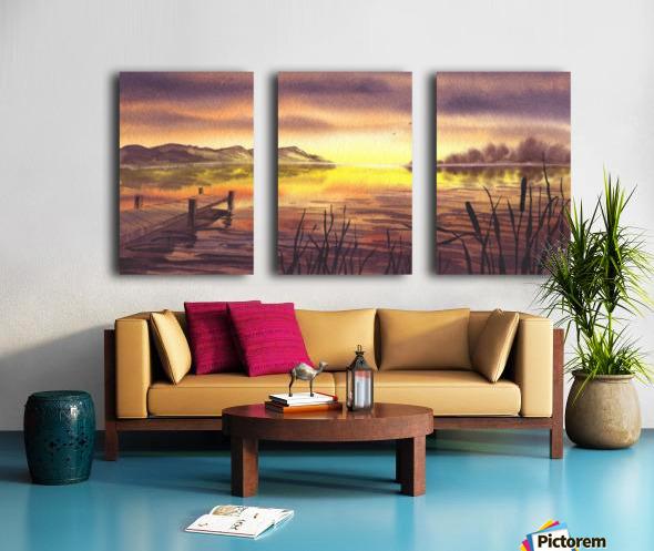 Peaceful Sunset At The Lake Split Canvas print