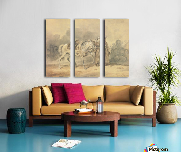 A Mameluk leading his horse Split Canvas print