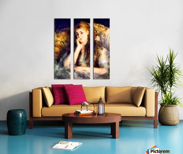 Portrait of a girl in thoughts by Renoir Split Canvas print