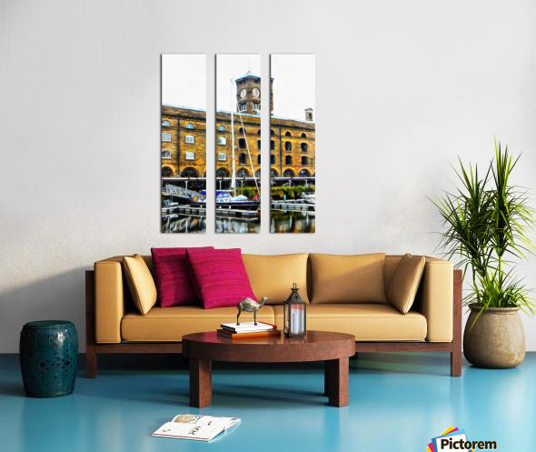 Boats in Front of Clock Tower St Katharine Docks Split Canvas print