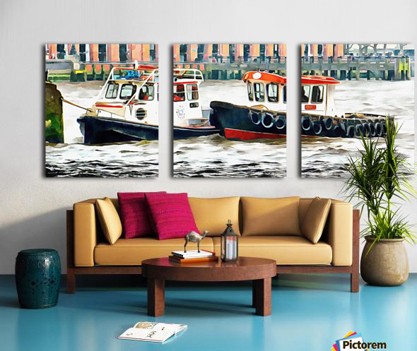 Two Boats Tied Up On The River Thames London Split Canvas print