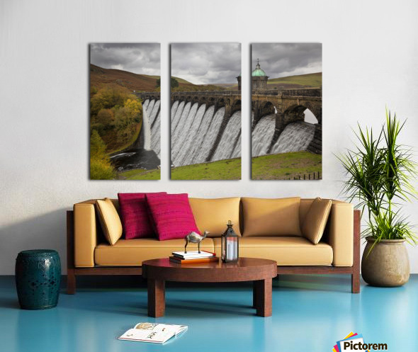 The dam at Craig Goch Split Canvas print