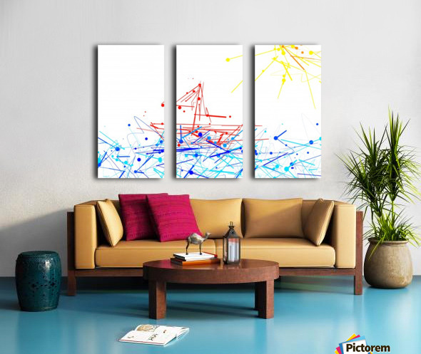 the red boat Split Canvas print
