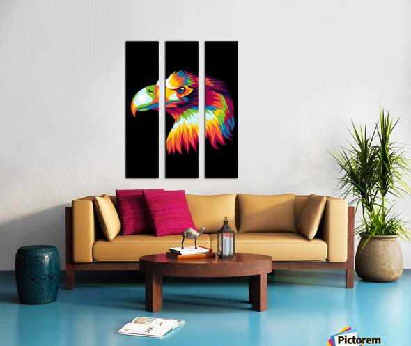 Bird of Prey in Colorful Pop Art Illustration Split Canvas print