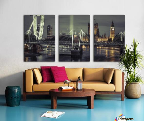 Night view of the London Eye, Golden Jubilee bridge and Westminster, London, UK Split Canvas print