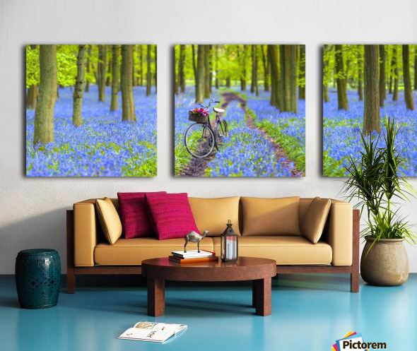 Bicycle in spring forest Split Canvas print