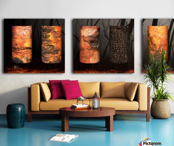 tree bark aBlaze Split Canvas print