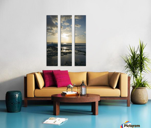Softly Came the Night Over the Pacific Split Canvas print