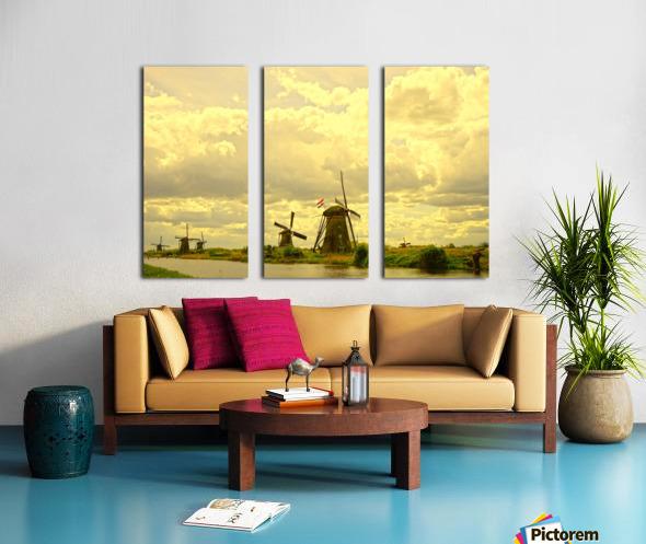 Windmills at Sunset - Netherlands Split Canvas print