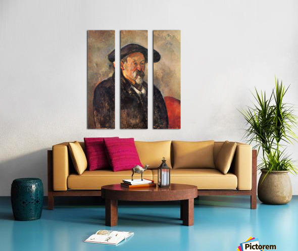 Self Portrait with Beret by Cezanne Split Canvas print