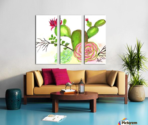 Flowering Cactus  Split Canvas print