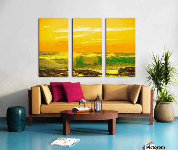 At the Sea Shore - Sunset Hawaiian Islands Split Canvas print