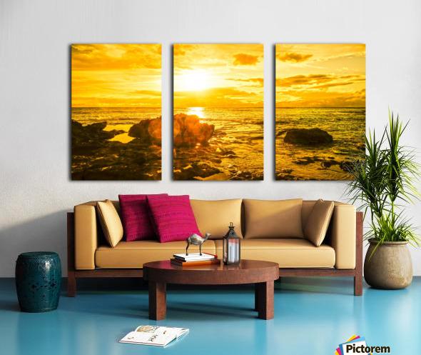 Majestic Sunset Panorama - Sunset Hawaiian Islands Split Canvas print