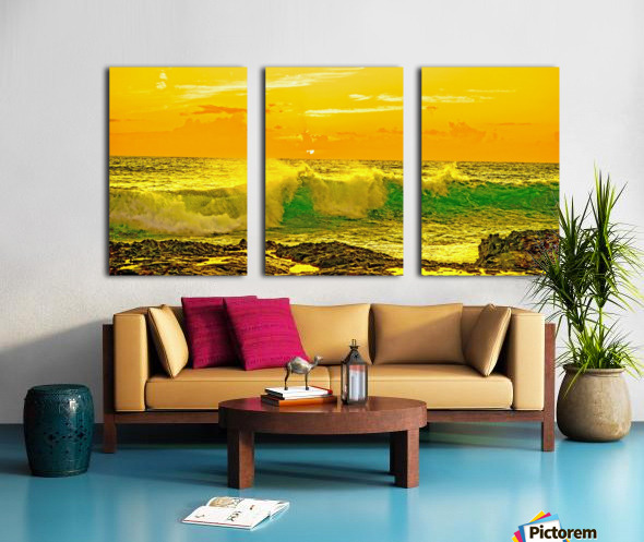 At the Sea Shore Panorama - Sunset Hawaiian Islands Split Canvas print