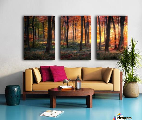 Autumn Woodland Sunrise Split Canvas print