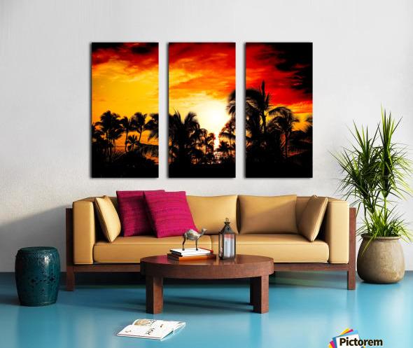 Fire in the Heavens - Sunset Hawaiian Islands Split Canvas print