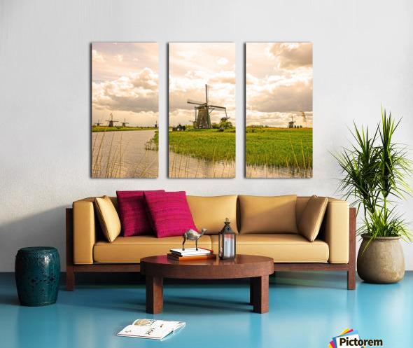 Windmills at Sunset Split Canvas print