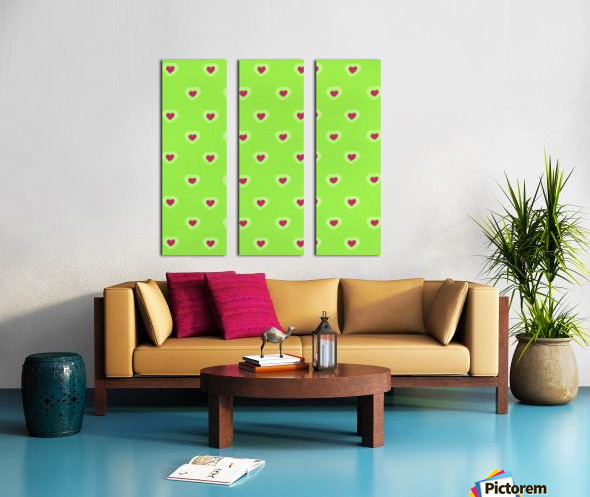 Hearts - Lime - Red Split Canvas print
