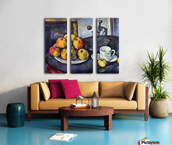 Still life with a bottle and apple cart by Cezanne Split Canvas print
