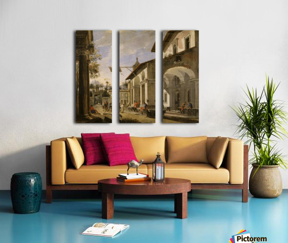 Courtyard of an Inn with Classical Ruins Split Canvas print