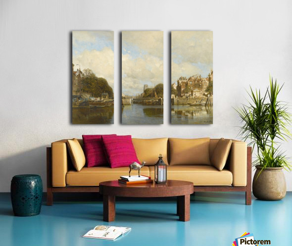 Rotterdam, with the Laurenskerk in the background Split Canvas print