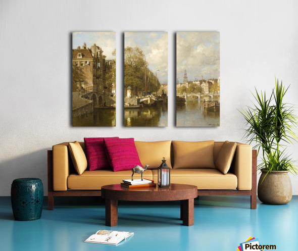 A View on the Amstel, with the Blauwbrug and the Zuiderkerk, Amsterdam Split Canvas print