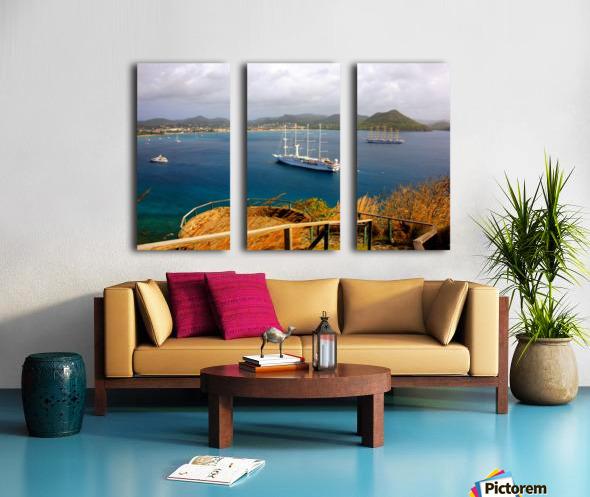 Tall ships at anchor Rodney Bay Landscape Split Canvas print