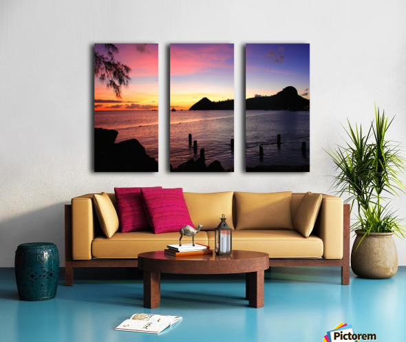 Sunset looking at Pigeon Island Split Canvas print