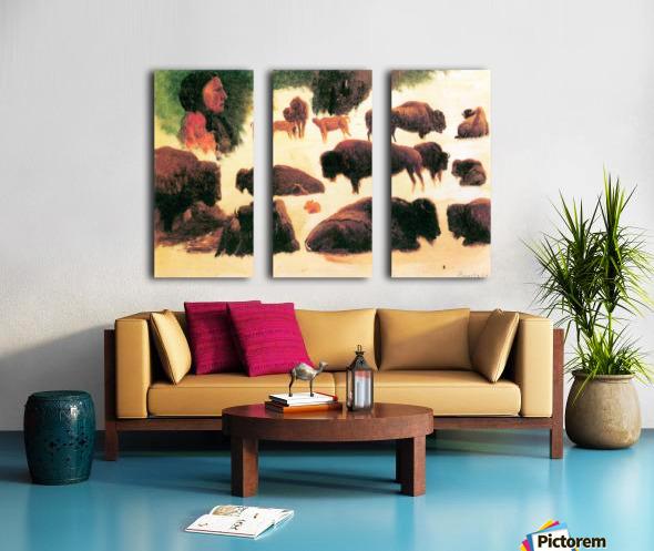 Study of Buffaloes by Bierstadt Split Canvas print